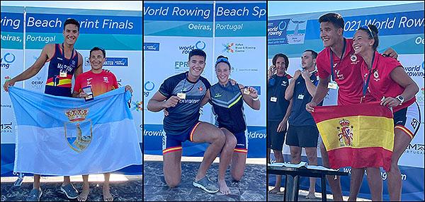 Ander Martín y Esther Briz, flamantes campeones del mundo de remo de mar con Moncho Ferrer